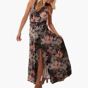 Veronica M. XS wrap maxi dress palm print